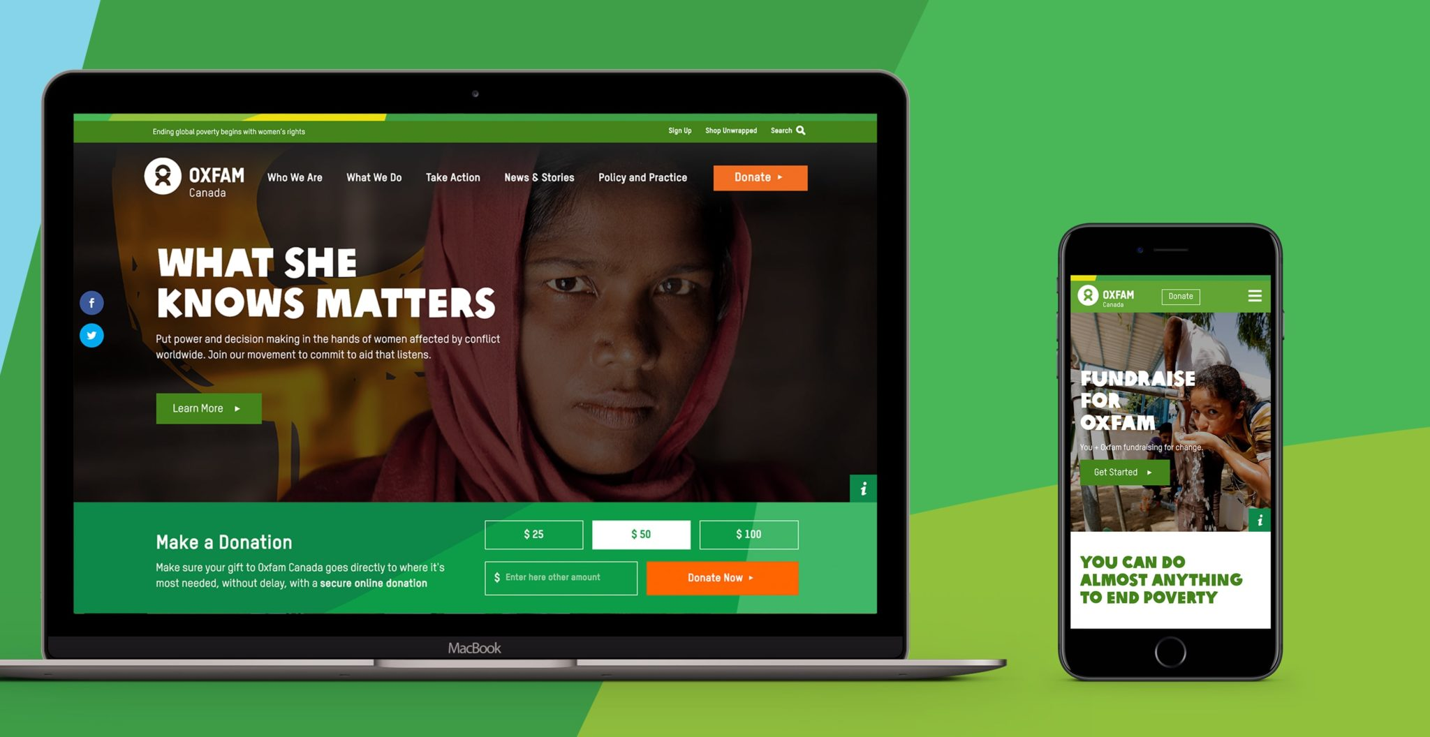Oxfam Canada is one of the best nonprofit websites.